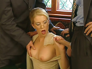 Glasses,Threesome,MILF,Babe,Blonde,Blowjob,Handjob,Hardcore,Public Nudity,Big Boobs