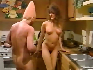 Bald headed freak polishes hairy pussy of sweet looking brunette chick