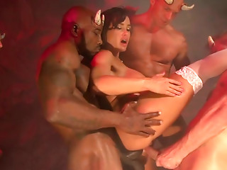 Gangbang,Double Penetration,Anal,Big Ass,Big Boobs,Big Cock,Black and Ebony,Brunette,Hardcore,Interracial,MILF,Stockings