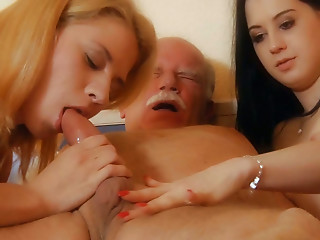 Old and young,Panties,Small Tits,Teen,Threesome,Babe,Blonde,Blowjob,Brunette,Cumshot,Handjob,Mature