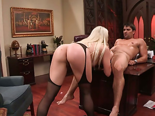 Incredibly sexy blondie with fine ass gets brutally fucked from behind
