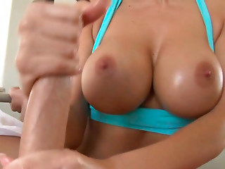 well stacked brunette Dylan Ryder gives handjob at the gym