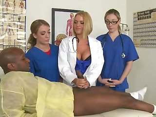 Black guy has a big dick that is enough for three slutty blondies