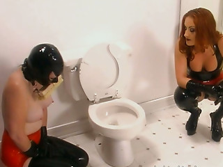 Masked,Latex,Femdom,Big Ass,Big Boobs,Fetish,Lesbian,MILF,Redhead,Spanking,Bathroom