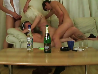 Drunk,Slut,Blonde,Blowjob,Russian,Small Tits,Threesome,Doggystyle