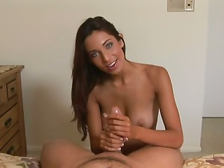 Slim hot and wondrous Tiffany Taylor loves giving a handjob to a cock