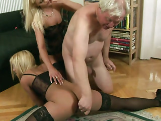 Old and young,Blonde,Blowjob,Lesbian,Lingerie,Mature,Panties,Stockings,Threesome,Babe
