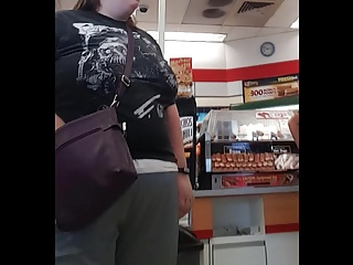 Big braless floppys at the gas station