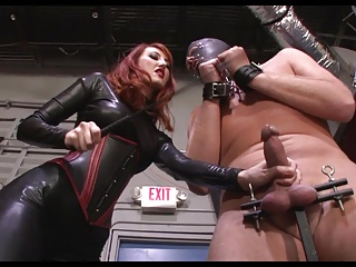 Brutal CBT and cum on boots