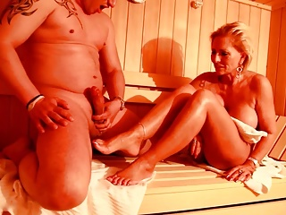 Feet sex in Steamy Sauna