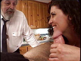 Kitchen,Big Boobs,Blowjob,Brunette,Facial,MILF,Threesome,Wife
