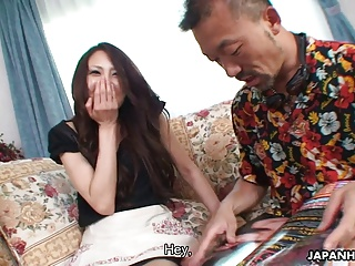 Sexy Japanese babe feeding and riding her guest