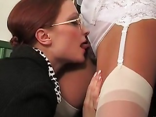 Ass licking,Glasses,Lesbian,Mature,Redhead,Stockings