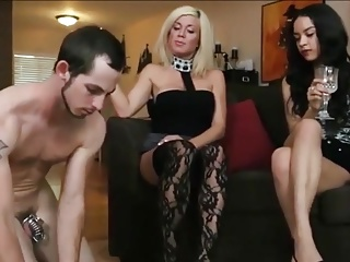 Chastity foot slave of 2 mistresses milked and relocked