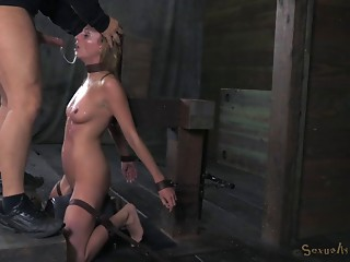 Thin blonde tied up and gets a sloppy gaging session