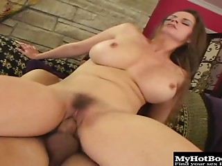 Busty brunette mom June has her hairy muff drilled hard