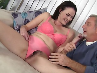 Horny slut Veronica has her hairy muff plugged hard