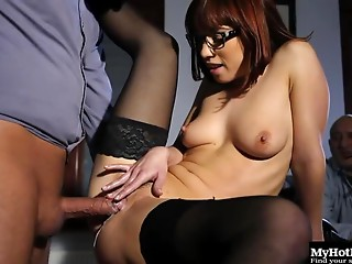 Creampie,Cumshot,Double Penetration,Glasses,Hardcore,Nylon,Stockings,Threesome,Natural,Big Ass,Brunette