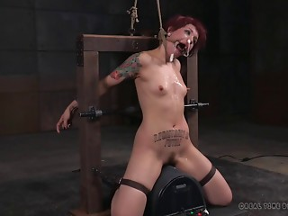 Bootylicious redhead girl is close to crying in her painful adventure