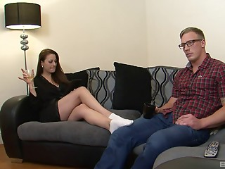 Nerdy guy gives his erection to a brunette who knows how to ride it