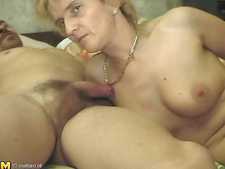 Sassy matured granny moaning while drilled doggystyle