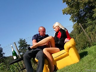 Alluring blonde avails her muff for a hardcore ride on the sofa outdoors