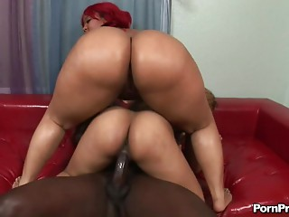 Guy with a big black dick lets the bootylicious babes ride him