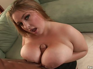 Fat chick allows the muscular guy to pound her hard on the sofa