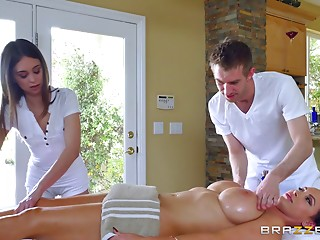 Massage,Fake,Big Ass,Big Boobs,Brunette,Hardcore,Oiled,Pornstar,Threesome