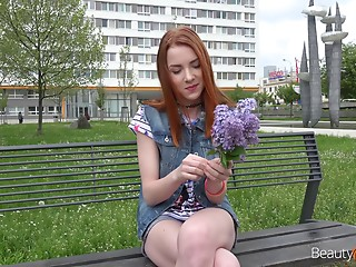 Gorgeous redhead babe Brianna and her buddy's fat schlong