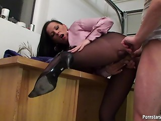 Pantyhose,Secretary,High Heels,Office,Brunette,Hardcore,Panties,Reality,Couple