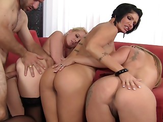 Crowd of sassy cougars get dirty in this magnificent group sex action