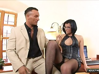 Glasses,Brunette,Hardcore,Lingerie,MILF,Office,Reality,Stockings,Couple