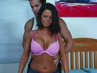 Great fake tits on the fit body girl he bangs passionately