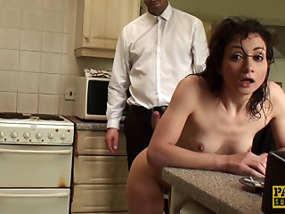 Dom guy uses the skinny girl hard in this great sex scene