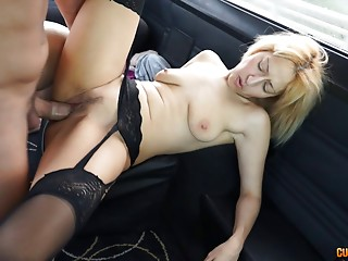 Stockings and garter belt babe fucking in the van