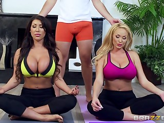 Massive tits milfs in skintight yoga clothes fuck a big dick guy