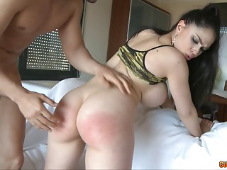 Beautiful,Hardcore,Brunette,Lingerie,Pornstar,Spanking,Couple