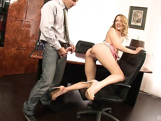 Tantalizing girl decides to sit down on her co-worker's erected cock