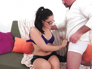 Glasses,Handjob,Couple,Slut,Brunette,Hardcore,Lingerie