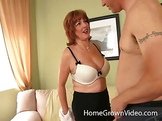 Curvy milf redhead takes dick inside her bald pussy