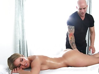 He massages her body then fucks her mouth and pussy