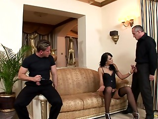 Gangbang,Black and Ebony,Brunette,Group Sex,Hardcore,Pornstar,Stockings