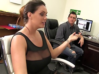 Office,MILF,Big Boobs,Brunette,Handjob,Hardcore,Pornstar,Couple