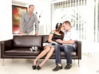 Maid,Threesome,Uniform,Brunette,Double Penetration,Hardcore,Lingerie,Pornstar,Stockings