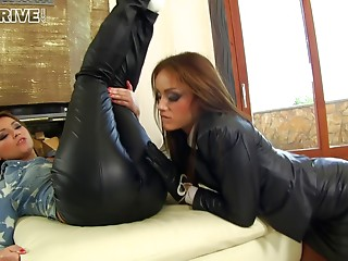 Brunette slots get their pussies and assholes penetrated
