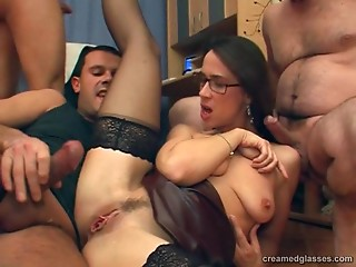 Glasses,Stockings,Secretary,Office,Gangbang,Nylon,Natural,Amateur,Brunette,Group Sex,Hardcore,Lingerie,Reality