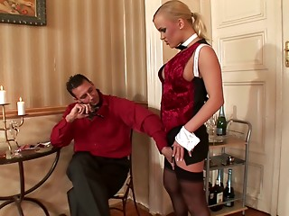 Maid,Blonde,Couple,Blowjob,Hardcore,Nylon,Pornstar,Stockings,Uniform,Doggystyle
