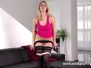 Shaved,Nylon,Blonde,Solo,Wet,Stockings
