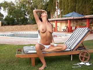 Babe,Big Boobs,Brunette,Outdoor,Panties,Pool,Natural,Solo